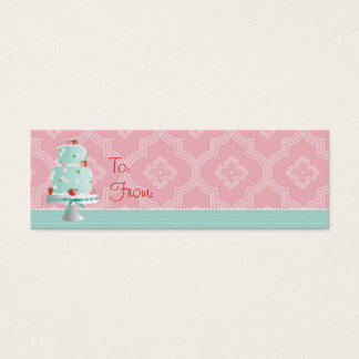 Strawberry Cake Skinny Gift Tag Mini Business Card
