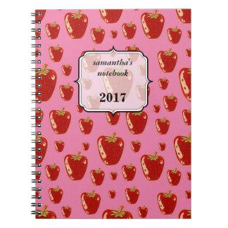strawberry cartoon style illustration spiral notebook