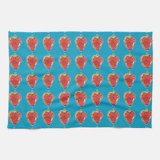 strawberry cartoon style illustration tea towel