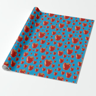 strawberry cartoon style illustration wrapping paper