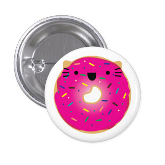 Strawberry Cat Donut Button