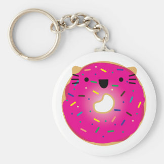 Strawberry Cat Donut Keychain