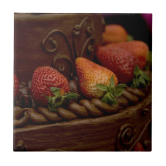 Strawberry Chocolate Cake Small Square Tile