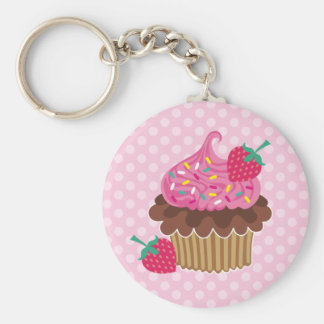 Strawberry & Chocolate Cupcake Basic Round Button Key Ring