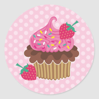 Strawberry & Chocolate Cupcake Round Stickers