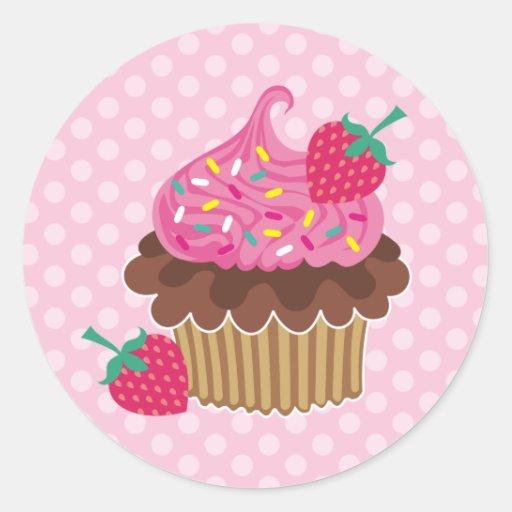 Strawberry & Chocolate Cupcake Round Stickers