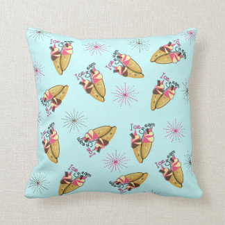 Strawberry Chocolate Ice Cream Cones Sunny Pattern Cushion