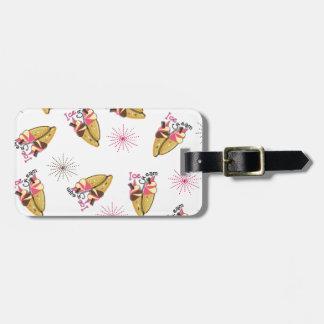 Strawberry Chocolate Ice Cream Cones Sunny Pattern Luggage Tag