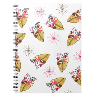 Strawberry Chocolate Ice Cream Cones Sunny Pattern Notebook