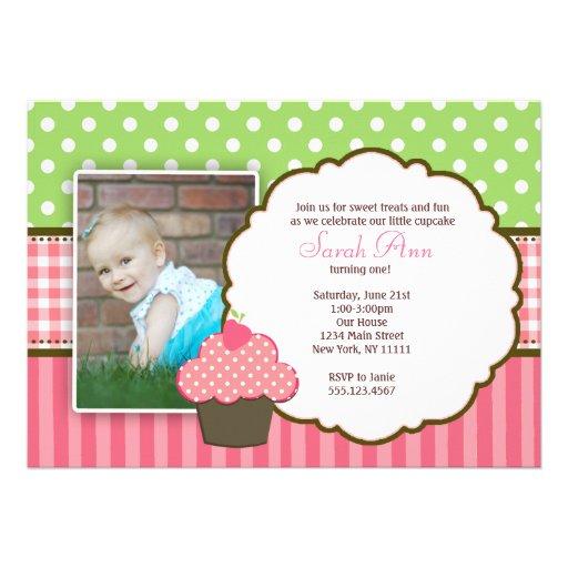 Strawberry Cupcake 1st Birthday Party Invitation