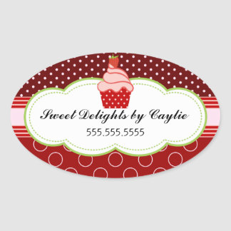 Strawberry Cupcake Bakery Cake Box Seals Oval Sticker