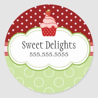 Strawberry Cupcake Bakery Cake Box Seals Round Sticker