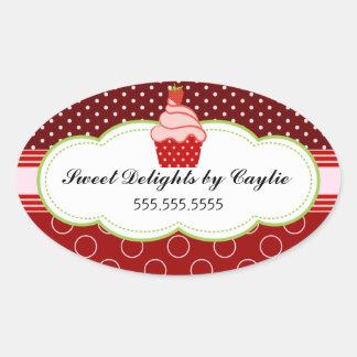 Strawberry Cupcake Bakery Cake Box Seals Oval Sticker