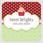 Strawberry Cupcake Bakery Cake Box Seals Square Stickers