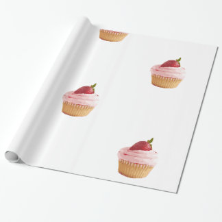 Strawberry cupcake motif wrapping paper