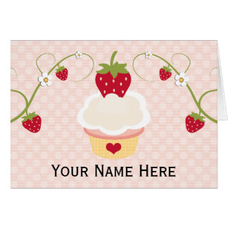 Strawberry Cupcake Thank You Note Cards