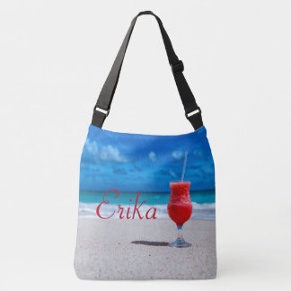 Strawberry Daiquiri Caribbean Beach Personalized Crossbody Bag