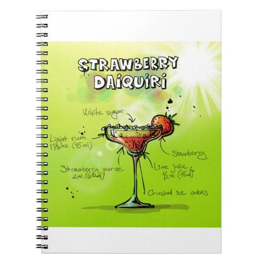 Strawberry Daiquiri Recipe - Cocktail Gift Spiral Notebook