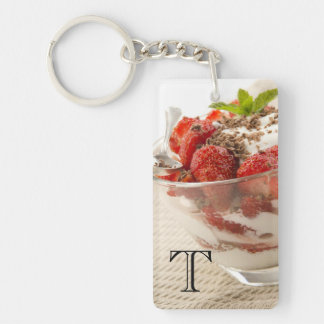 Strawberry Dessert With Fresh Yogurt Key Ring