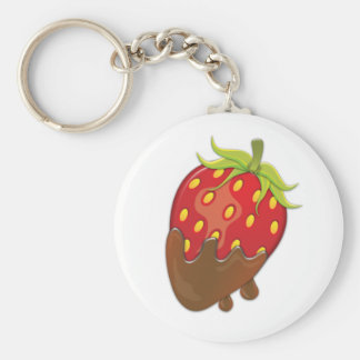 Strawberry dipped in chocolate key chain