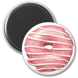 Strawberry Dipped Vanilla Striped Doughnut. 6 Cm Round Magnet