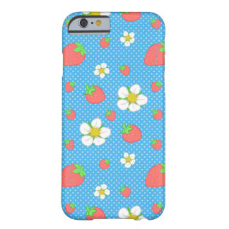 Strawberry Dots in Blue Barely There iPhone 6 Case