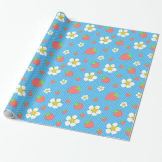 Strawberry Dots in Blue Wrapping Paper