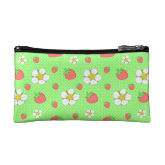 Strawberry Dots in Green Makeup Bag