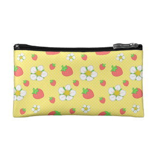 Strawberry Dots in Pink Makeup Bags