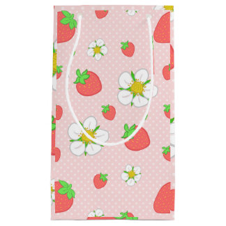 Strawberry Dots in Pink Small Gift Bag