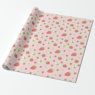 Strawberry Dots in Pink Wrapping Paper