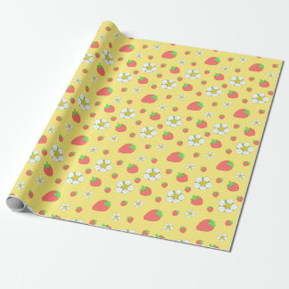 Strawberry Dots in Yellow Wrapping Paper