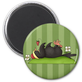 Strawberry Eating Crow 6 Cm Round Magnet