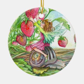 Strawberry Fairy Round Ceramic Decoration