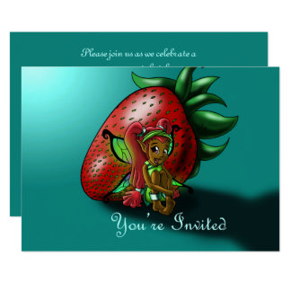 """Strawberry Fairy Zuwena Birthday Invitation"" 7x5"" Card"