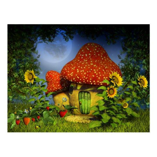 Strawberry fantasy house postcard