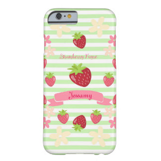 Strawberry Fayre Berry Floral Mint Stripe Barely There iPhone 6 Case