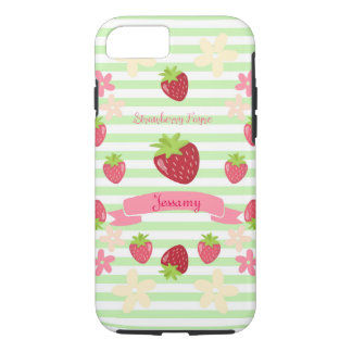 Strawberry Fayre Berry Floral Mint Stripe iPhone 8/7 Case