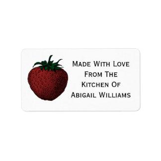 Strawberry Food Canning Label Address Label