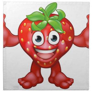 Strawberry Fruit Cartoon Character Mascot Napkin