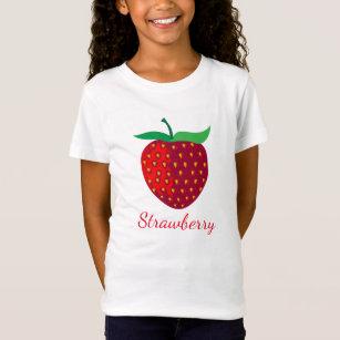 Strawberry Fruit on Girls' Fine Jersey T-Shirt