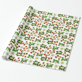 Strawberry Fruit with Flowers Wrapping Paper