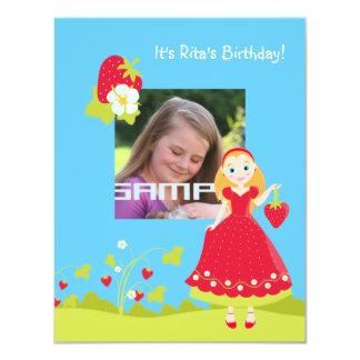 Strawberry Girl Birthday Party invitation
