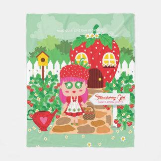 Strawberry Girl Fleece Blanket
