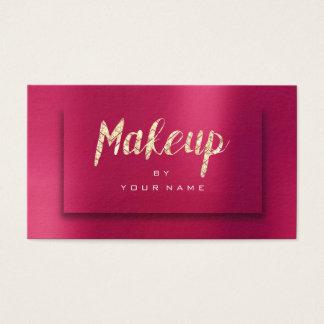 Strawberry Gold Glitter Typograph Makeup Artist 3D Business Card