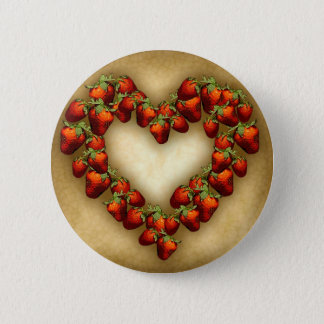 Strawberry Heart 6 Cm Round Badge
