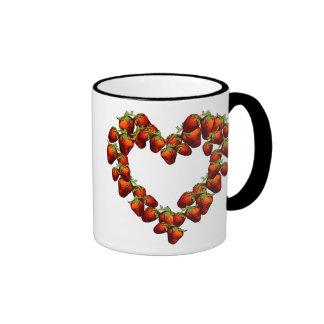 Strawberry Heart Coffee Mugs