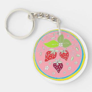 Strawberry Hex art by EelKat - pink Key Ring