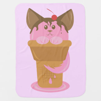 Strawberry Ice Cream Cat Baby Blanket