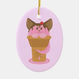 Strawberry Ice Cream Cat Ceramic Oval Decoration
